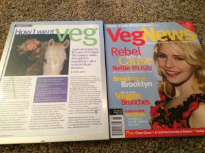 "Some of the old writing I've been sorting through lately. Yes, I wrote for ""Veg News"" back in the vegan days!"