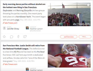 A screenshot of a couple stories I curated for Inside San Francisco.